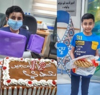 Uday brings sweets to thank department staff for helping him walk again