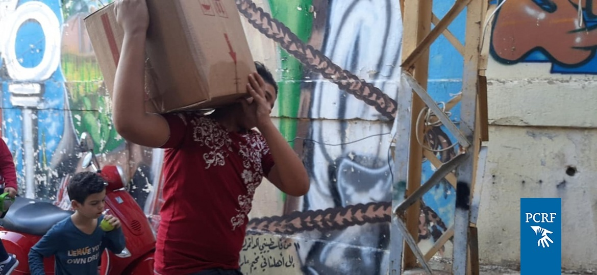 Food Distribution for Refugees in Mar Elias Camp