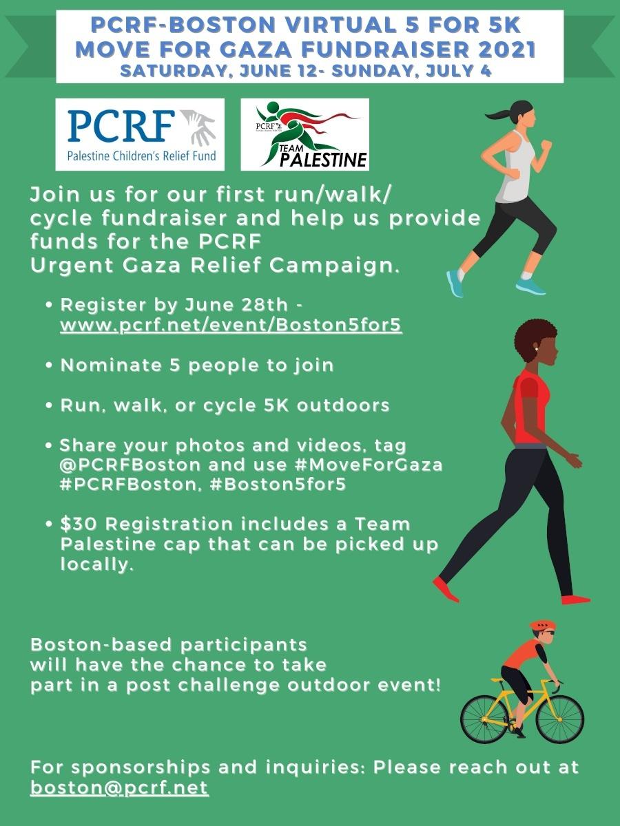 Boston Virtual 5 for 5K Run/Walk/Cycle Fundraiser